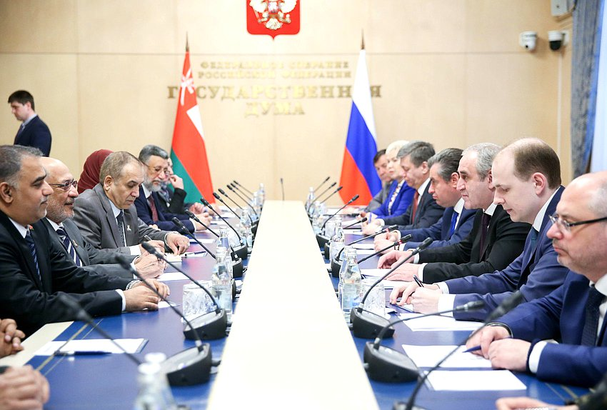 Meeting of Deputy Chairman of the State Duma Sergei Neverov and President of the Council of State of the Sultanate of Oman Yahya bin Mahfooz Al-Manzari