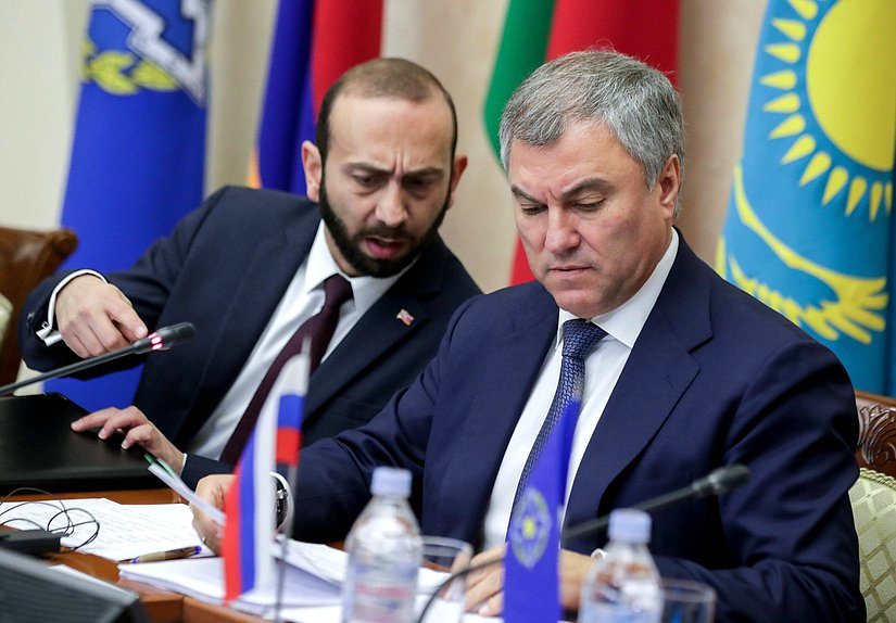 President of the National Assembly of the Republic of Armenia Ararat Mirzoyan and Chairman of the State Duma Viacheslav Volodin