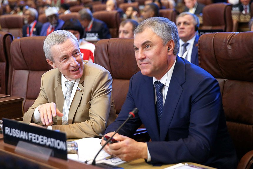 Deputy Chairman of the Committee of the Federation Council on International Affairs Andrey Klimov and Chairman of the State Duma Viacheslav Volodin