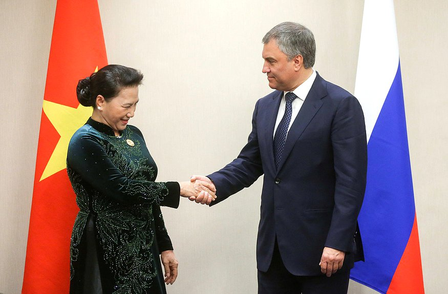 Chairwoman of the National Assembly of the Socialist Republic of Vietnam Nguyễn Thị Kim Ngân and Chairman of the State Duma Viacheslav Volodin