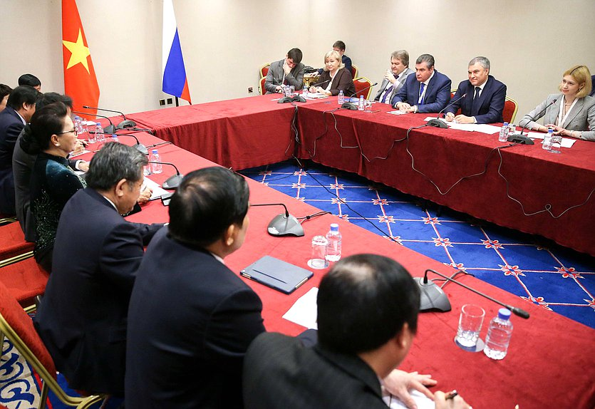 Meeting of Chairman of the State Duma Viacheslav Volodin with Chairwoman of the National Assembly of the Socialist Republic of Vietnam Nguyễn Thị Kim Ngân