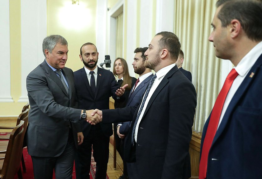 Chairman of the State Duma Viacheslav Volodin and President of the National Assembly of the Republic of Armenia Ararat Mirzoyan