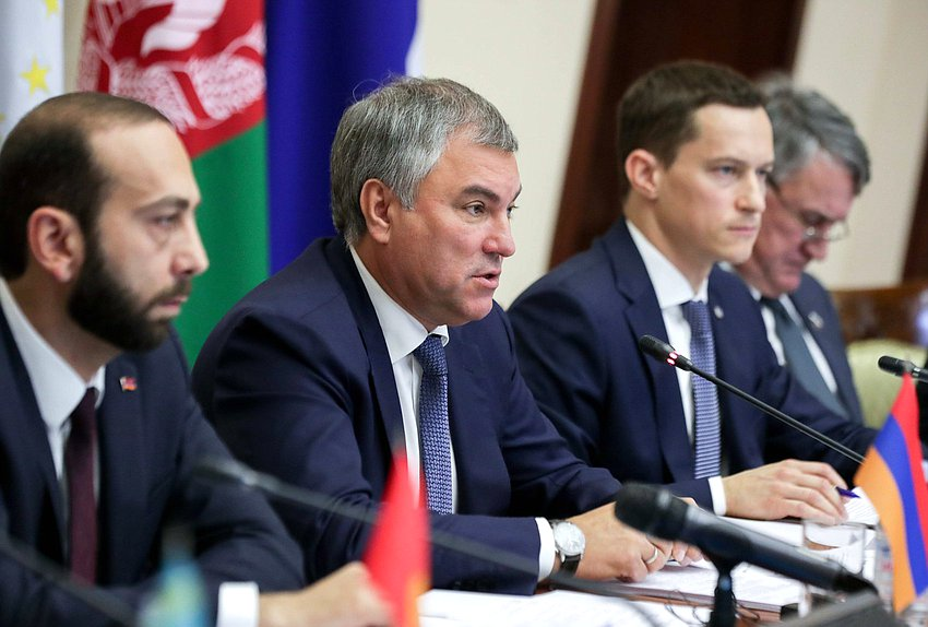 President of the National Assembly of the Republic of Armenia Ararat Mirzoyan, Chairman of the State Duma Viacheslav Volodin and Executive Secretary of the CSTO PA Sergei Pospelov