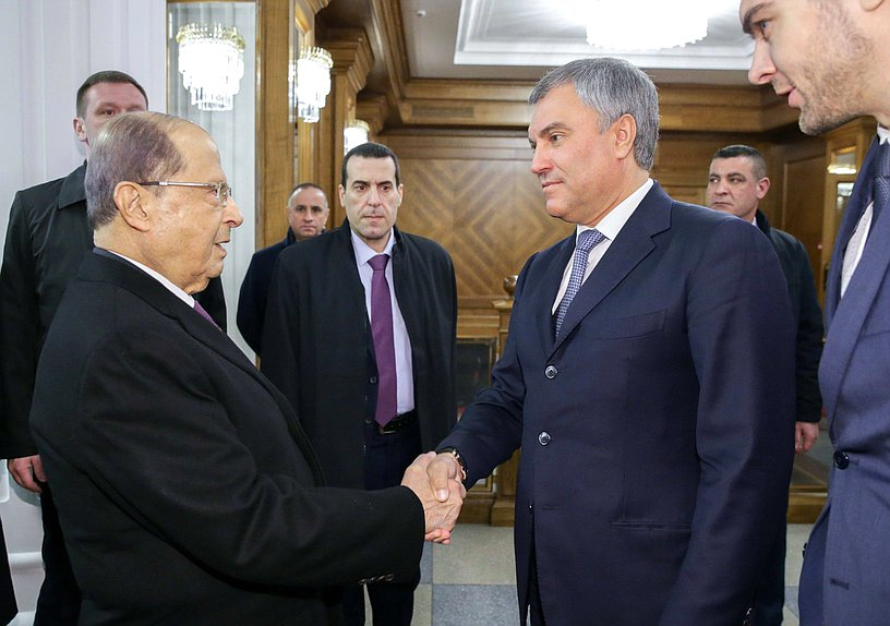 Chairman of the State Duma Viacheslav Volodin and President of the Lebanese Republic Michel Naim Aoun