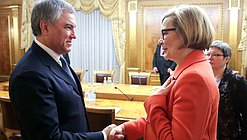 Chairman of the State Duma Viacheslav Volodin and Speaker of the Parliament of the Republic of Finland Paula Risikko
