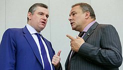 Deputy Chairman of the State Duma Petr Tolstoy and Chairman of the Committee on International Affairs Leonid Slutskiy