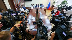 Press conference of Chairman of the Committee on Issues of Public Associations and Religious Organizations Sergei Gavrilov