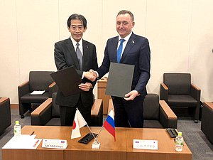 Chairman of the Japan-Russia Parliamentary Friendship Association Ichiro Aisawa and coordinator of the Interparliamentary Group on Interaction with the Parliament of Japan Yevgenii Shulepov