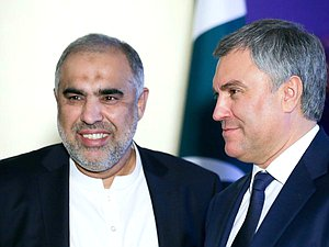 Chairman of the National Assembly of the Islamic Republic of Pakistan Asad Qaiser and Chairman of the State Duma Viacheslav Volodin