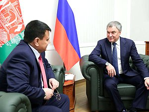 Chairman of the State Duma Viacheslav Volodin and Speaker of the House of the People of the National Assembly of the Islamic Republic of Afghanistan Mir Rahman Rahmani