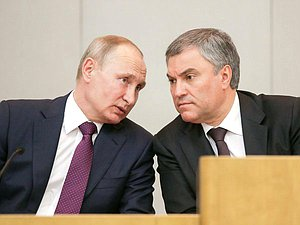 President of the Russian Federation Vladimir Putin and Chairman of the State Duma Viacheslav Volodin