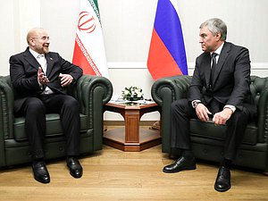 Chairman of the State Duma Viacheslav Volodin and Speaker of the Parliament of Iran Mohammad Bagher Ghalibaf