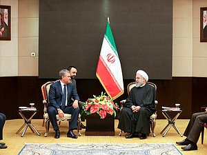 Chairman of the State Duma Viacheslav Volodin and President of the Islamic Republic of Iran Hassan Rouhani