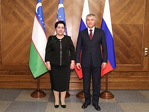 Chairman of the State Duma Viacheslav Volodin and Chairwoman of the Senate of the Oliy Majlis of the Republic of Uzbekistan Tanzila Narbaeva