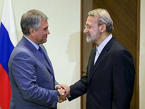 Chairman of the State Duma Viacheslav Volodin and Chairman of the Islamic Consultative Assembly of the Islamic Republic of Iran Ali Larijani
