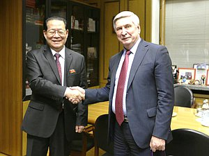 Ambassador of the Democratic People's Republic of Korea to the Russian Federation Kim Hyung Jun and First Deputy Chairman of the State Duma Ivan Melnikov