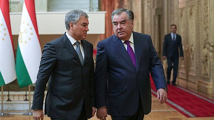 Chairman of the State Duma Viacheslav Volodin and President of the Republic of Tajikistan Emomali Rahmon