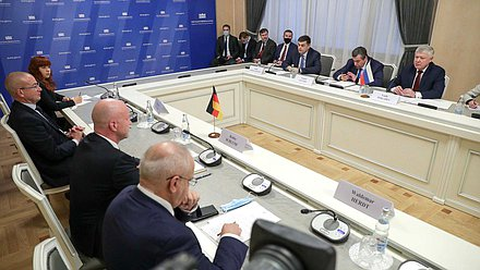 Meeting of members of the State Duma Commission on the Investigation of Foreign Interference in Russia's Internal Affairs with the German parliamentary delegation headed by Chairman of the German-Russian Parliamentary Friendship Group of the German Bundestag Robby Schlund