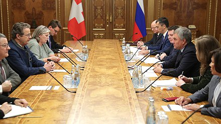 Meeting of Chairman of the State Duma Viacheslav Volodin and President of the Council of States of the Federal Assembly of the Swiss Confederation Jean-René Fournier