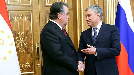 Chairman of the State Duma Viacheslav Volodin and President of Tajikistan Emomali Rahmon