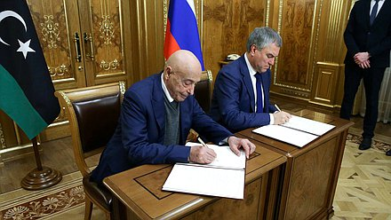 Chairman of the State Duma Viacheslav Volodin and Chairman of the House of Representatives of Libya Aguila Saleh