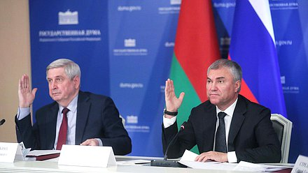 First Deputy Chairman of the State Duma Ivan Melnikov and Chairman of the State Duma Viacheslav Volodin