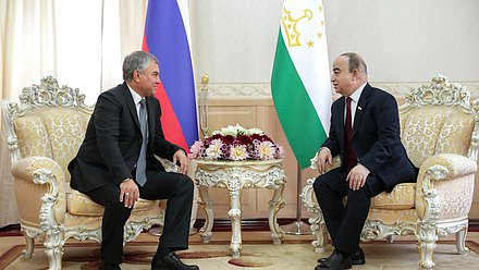 Chairman of the State Duma Viacheslav Volodin and Chairman of the Majlisi namoyandagon of Majlisi Oli Shukurjon Zuhurov