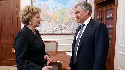 Chairman of the State Duma Viacheslav Volodin and leader of the Party of Socialists of the Republic of Moldova Zinaida Greceanîi