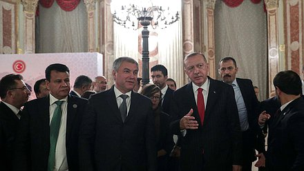 Chairman of the State Duma Viacheslav Volodin and President of Turkey Recep Tayyip Erdoğan