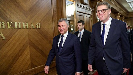 Chairman of the State Duma Viacheslav Volodin and Speaker of the Parliament of the Republic of Finland Matti Vanhanen