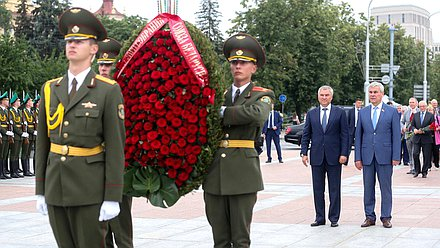 Ceremony of wreath laying to the Victory Monument in Minsk