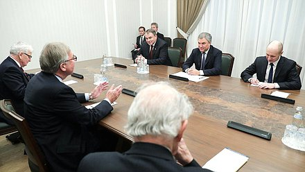 Meeting of Chairman of the State Duma Viacheslav Volodin with members of House of Lords of the Parliament of the United Kingdom of Great Britain and Northern Ireland, The Viscount Waverley, The Lord Balfe, and The Rt Hon. the Lord Browne of Ladyton