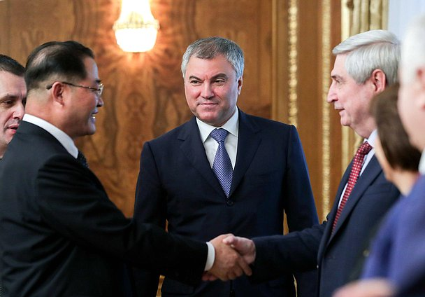 Chairman of the State Duma Viacheslav Volodin, Chairman of the Supreme People's Assembly of the DPRK Pak Thae-song and First Deputy Chairman of the State Duma Ivan Melnikov