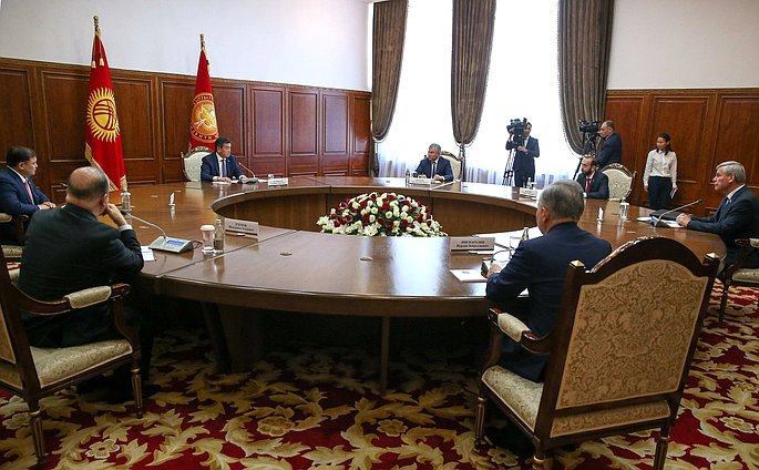 Meeting of President of the Kyrgyz Republic Sooronbay Jeenbekov with the heads of parliaments of the CSTO member states