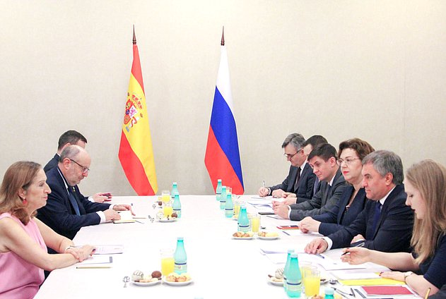 Meeting of Chairman of the State Duma Viacheslav Volodin and President of the Congress of Deputies of the Cortes Generales of the Kingdom of Spain Ana Pastor Julián