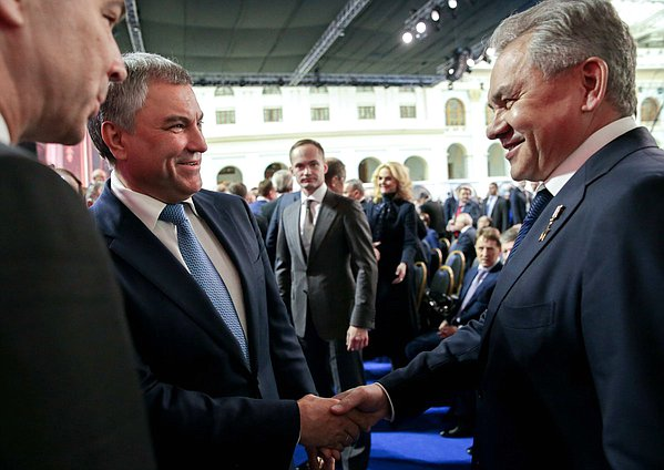 Chairman of the State Duma Viacheslav Volodin and Minister of Defense of the Russian Federation Sergey Shoigu