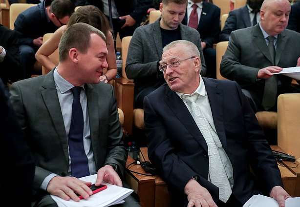 Chairman of the Committee on Physical Culture, Sport and Youth Affairs Mikhail Degtiarev and leader of LDPR faction Vladimir Zhirinovskii