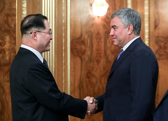 Chairman of the State Duma Viacheslav Volodin and Chairman of the Supreme People's Assembly of the DPRK Pak Thae-song
