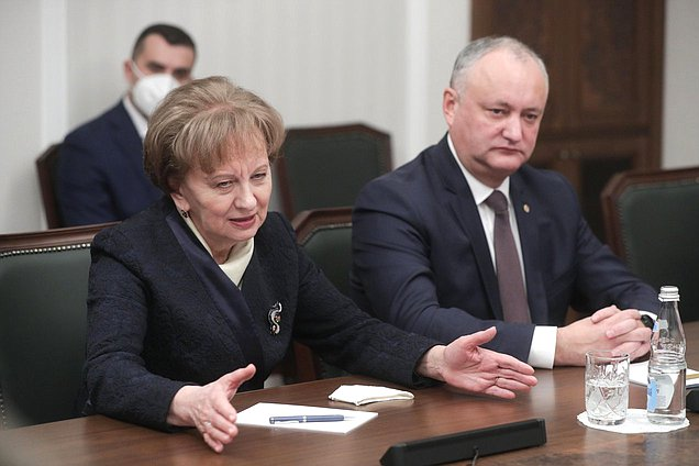 Speaker of the Parliament of the Republic of Moldova Zinaida Greceanîi and ex-President of the Republic of Moldova Igor Dodon