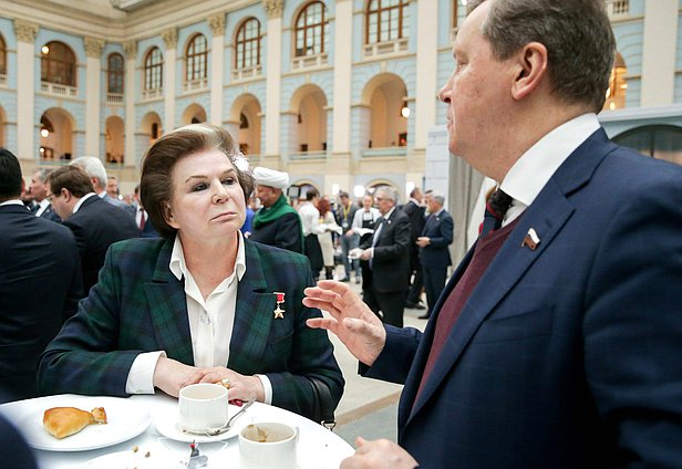Deputy Chairwoman of the Committee on Federal System and Issues of Local Self-Government Valentina Tereshkova and First Deputy Chairman of the Committee on Control and Regulations Oleg Nilov