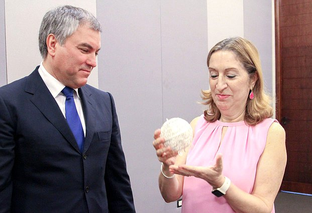 Chairman of the State Duma Viacheslav Volodin and President of the Congress of Deputies of the Cortes Generales of the Kingdom of Spain Ana Pastor Julián