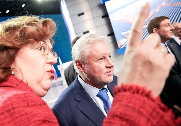 Chairwoman of the State Duma Olga Epifanova and head of the Just Russia faction Sergei Mironov