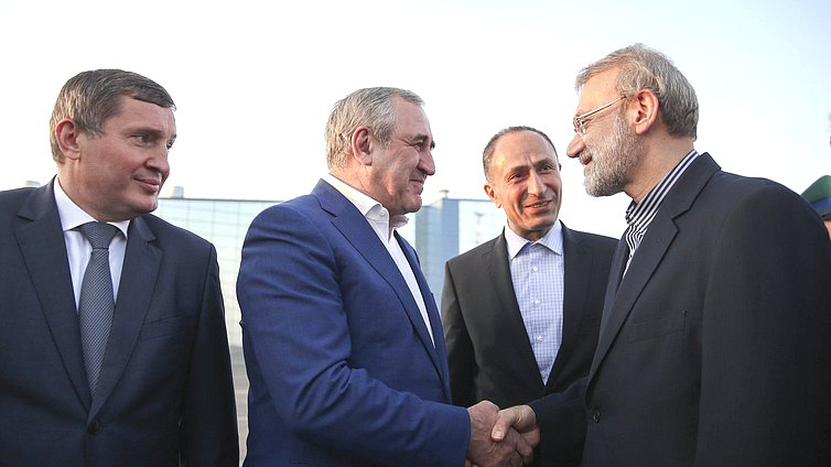 Deputy Chairman of the State Duma Sergei Neverov and Chairman of the Islamic Consultative Assembly of the Islamic Republic of Iran Ali Larijani