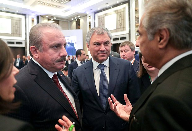 Speaker of the Grand National Assembly of Turkey Mustafa Şentop and Chairman of the State Duma Viacheslav Volodin