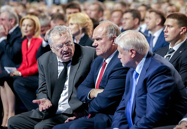 Vladimir Zhirinovskii, head of the LDPR faction, Gennady Zyuganov, head of the Communist Party of the Russian Federation faction, and Sergei Mironov, head of the Just Russia faction