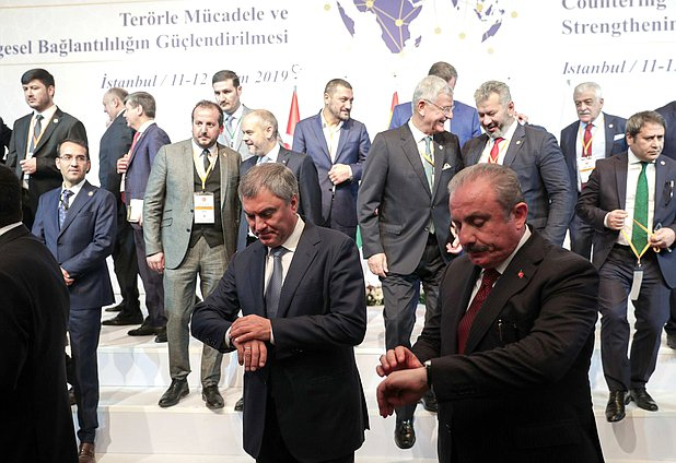 Chairman of the State Duma Viacheslav Volodin and Speaker of the Grand National Assembly of Turkey Mustafa Şentop