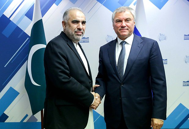 Chairman of the State Duma Viacheslav Volodin and Chairman of the National Assembly of the Islamic Republic of Pakistan Asad Qaiser
