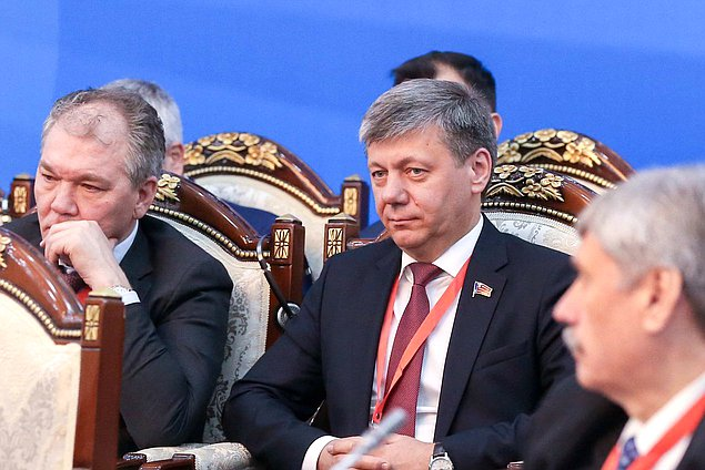 Chairman of the Committee on Issues of the Commonwealth of Independent States and Contacts with Fellow Countryman Leonid Kalashnikov and First Deputy Chairman of the Committee on International Affairs Dmitrii Novikov