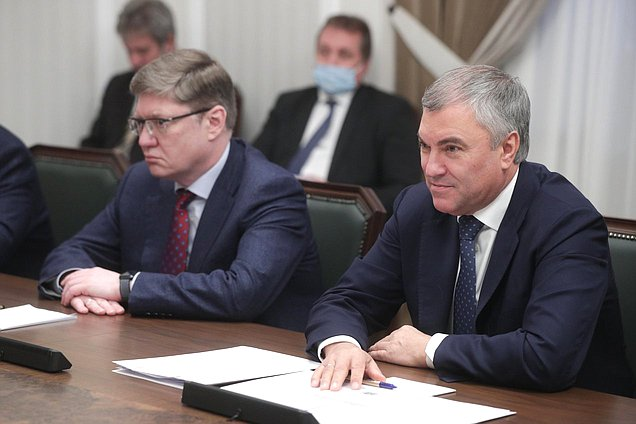 Chairman of the State Duma Viacheslav Volodin and member of the Committee on Labor, Social Policy and Veterans' Affairs Andrey Isaev